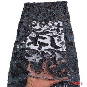 Image 5 - Gorąca sprzedaż projekt nigerii przewód koronki tkaniny wysokiej jakości sieć Mesh koronki Party Dress afrykańska aksamitna koronka tkaniny cekiny GD1710B 3
