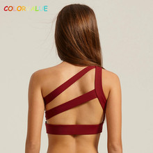 Colorvalue Sexy Off-shoulder Sports Bra Women Anti-sweat Padded Yoga Bra Mid Support Gym Fitness Bra Athletic Mesh Sport Bra Top