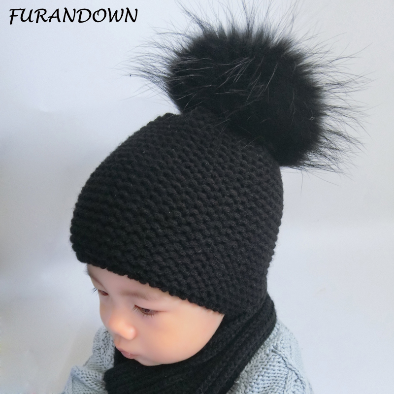 FURANDOWN Baby Beanie Hat Kids Winter Raccoon Fox Fur Hats For Children Girls Boys Fur pompom Ball Beanies Crochet Cap new star spring cotton baby hat for 6 months 2 years with fluffy raccoon fox fur pom poms touca kids caps for boys and girls