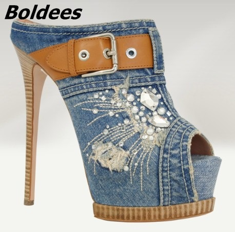 Boldees New Arrival Blue Denim Platform Slippers Women Stylish Jeans Crystal Buckle Decorated Peep Toe Sandals Stiletto HeelShoe stylish retro high waisted denim jeans shorts light blue s