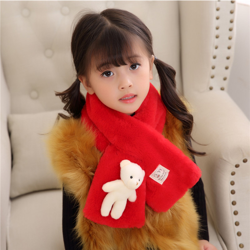 Autumn Winter New Imitation Rabbit Hair Pure Color Children'S Scarf Baby Boys Girls Plush Little Bear Neck Warm Scarves