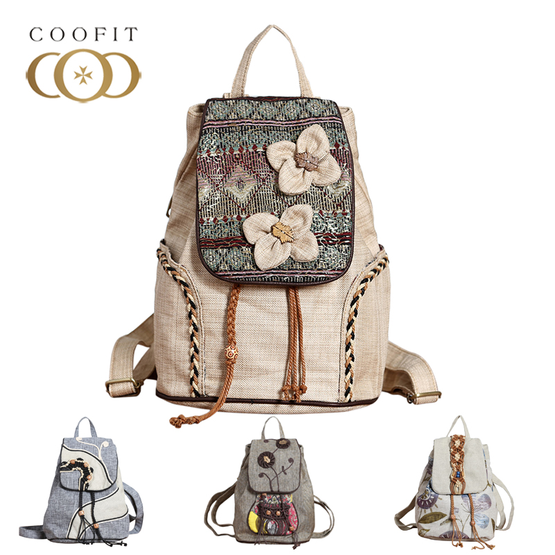 Coofit Vintage Women Female Backpack Retro Tribe Florals Flowers Canvas Backpack For Girls Weave Bagpack Schoolbag Daypack 2018