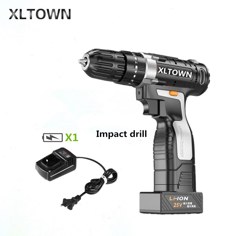 XLTOWN 25v Impact Drill Multifunction Electric Screwdriver Rechargeable Lithium Battery Hand Drill Household power tools