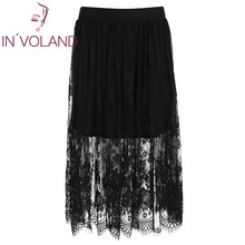 IN'VOLAND Women Skirt Plus Size Solid Elastic Waist Sheer Floral Lace Patchwork Midi Lady Beach Skater Skirt Plus Size XL-4XL