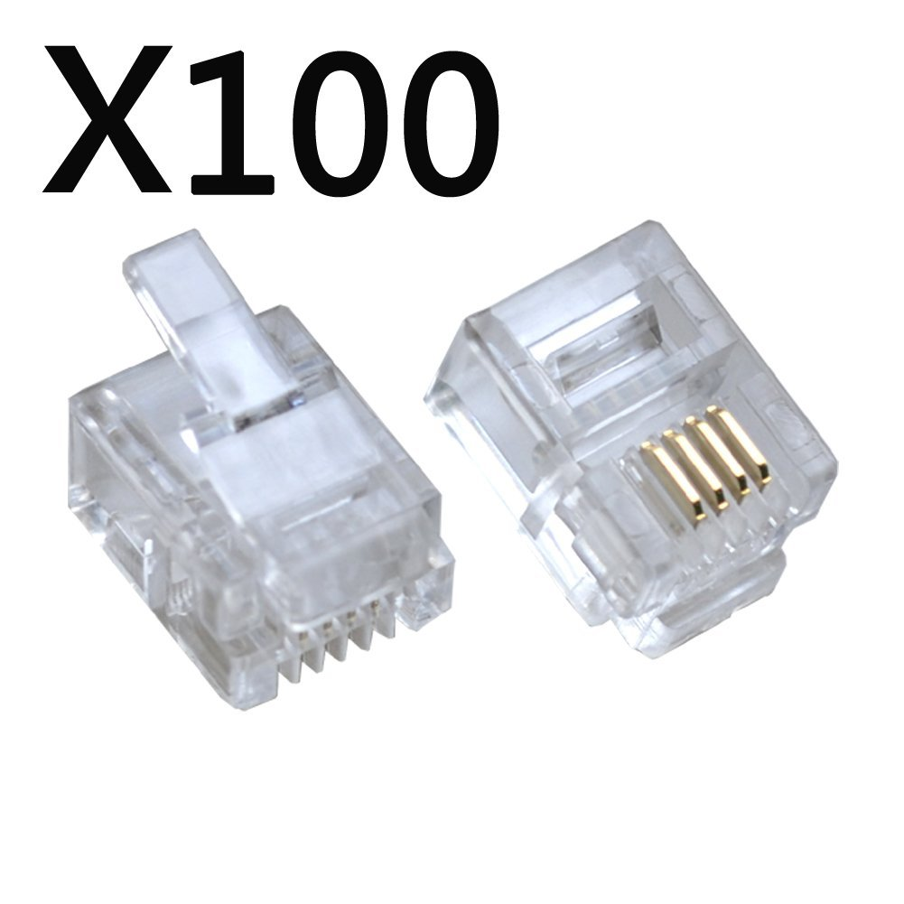 HBUDS 100PACK Telephone Plug 6P4C RJ11 Modular Plug (6/4, Telephone Cord Connector)