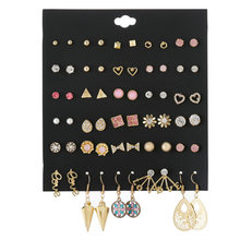 30 pairs/lot trendy crystal pearl love flower mixed stud earring sets for women punk gold triangle party earrings jewelry gift(China)
