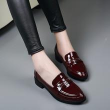 2017 New women causal flat shoes High quality patent leather wine red pointed toe bow knot ladies loafer shoes plus size 42 ML07