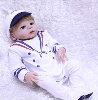 """22"""" Full Silicone reborn doll baby boy girl doll reborn for children xmas gift bebe alive bonecas reborn de silicone inteiro"""
