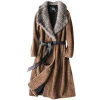 Роскошные Настоящее полушерстяные Шуба Куртка норки меховой воротник осень зима Для женщин меха Тренч Верхняя одежда пальто VF5067