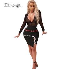 Ziamonga Sexy See Through Lace Up Bandage Dress 2018 Women Long Sleeve Sheath Night Club Party Dresses Bodycon Vestidos Clubwear
