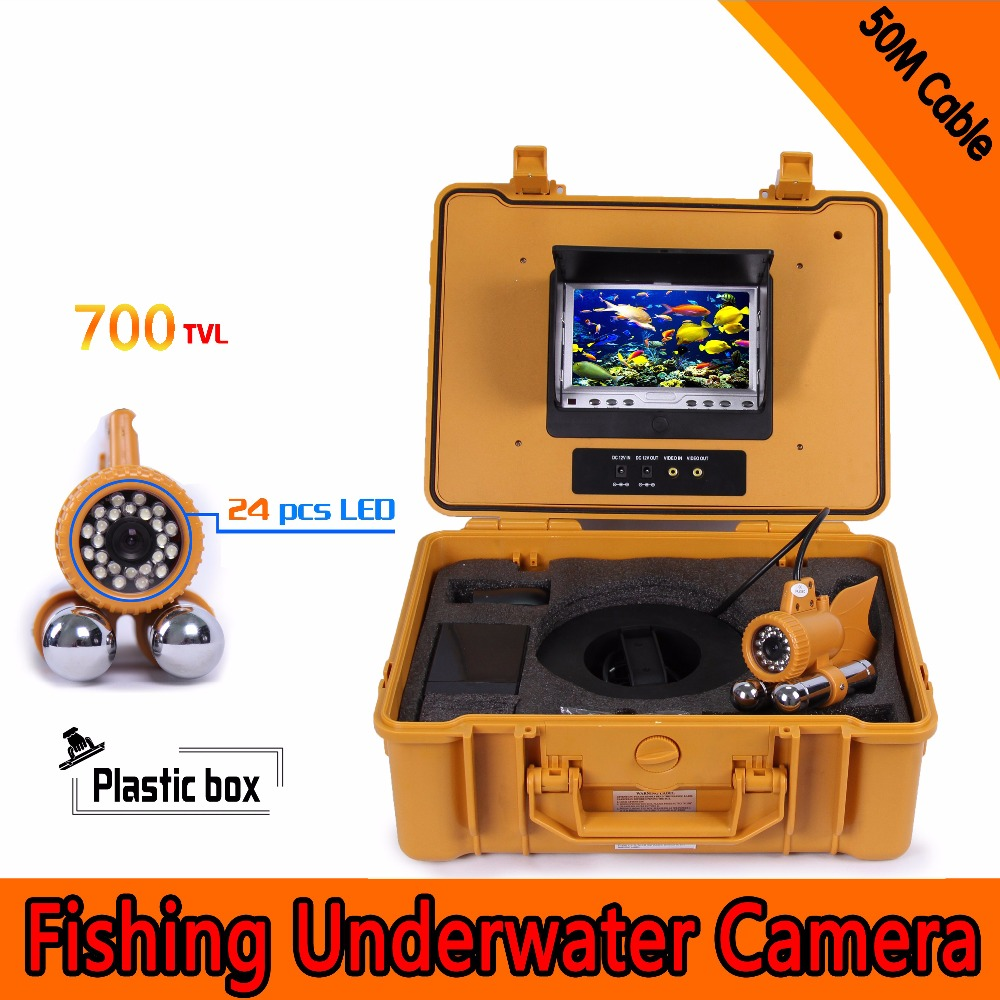 (1 Set) 50M Cable 7 inch TFT-LCD Color Screen HD700TVL CMOS Fish finder Inspection Camera Underwater Fishing camera dual-pandent 1 set 50m cable 360 degree rotative camera with 7inch tft lcd display and hd 1000 tvl line underwater fishing camera system