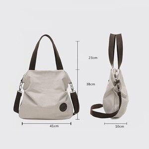 Image 4 - 2020 Kvky брендовая большая сумка тоут с карманами, женская сумка через плечо, холщовые кожаные вместительные сумки для женщин