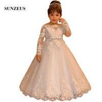 Детское платье с длинными рукавами и цветочным принтом для свадебной вечеринки для девочек, платья для первого причастия с аппликацией и v о