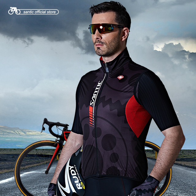 Santic Men Cycling Windproof Vest Reflective Sleeveless Anti-sweat Quik Dry Cycling  Jackets Riding Vest Cycling Clothings C07023 67a692088