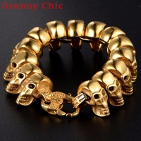 Granny Chic Cool Skull Men's Wristband Cuff Bracelet Jewelry Stainless Steel Skeleton Link Chain Heavy Puck Jewelry 8.66 25mm
