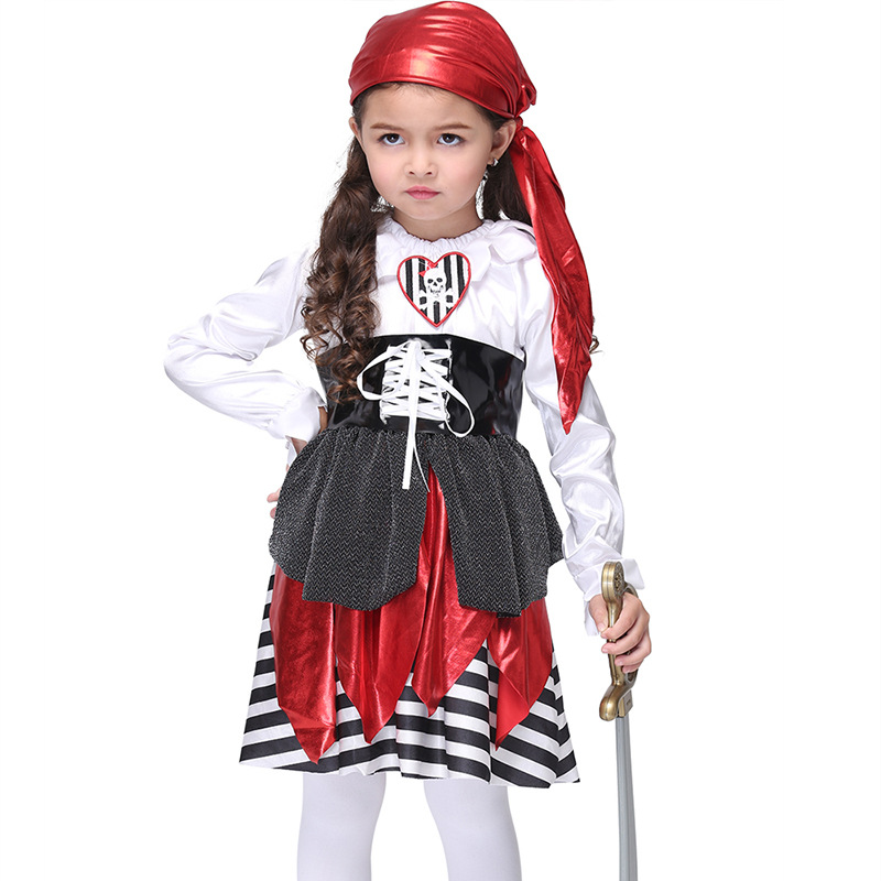 Pirate Costume Girls Anime Cosplay Halloween Carnival Party Costume for Kids  Performance Dress