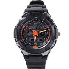 3 needle dual display alarm clock male fashion led electronic watches luminous sports table waterproof watch