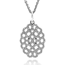 100% Genuine 925 Sterling Silver Jewelry Chain Shimmering Lace Charm Drop Pendant Necklace with Clear Cz