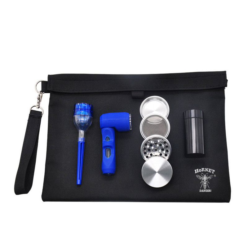 Sac en toile de haute qualité ensemble de tuyaux de broyeur de tabac en cinq pièces ensemble d'outils de bouteille à priser accessoires de cigarettes portables