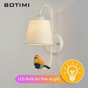 Image 2 - Тканевый абажур BOTIMI, настенный светильник с птичьим современным тканевым абажуром, настенный прикроватный светильник, железное настенное бра, светильник для комнаты s