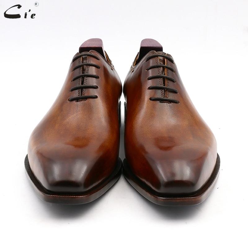 Image 3 - cie square toe whole cut bespoke custom handmade shoe full grain calf leather office shoe mens oxford shoe color brown OX08Formal Shoes   -