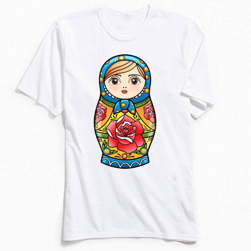 RUSSIAN NESTING DOLL Crew Neck Top T-shirts Summer Fall Leisure Tops T Shirt Short Sleeve New Design Pure Cotton Tshirts Mens RUSSIAN NESTING DOLL white