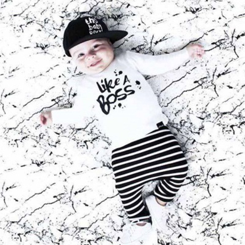 Newborn Baby Boy Clothes Set Cotton Long-sleeved Party Letter T-shirt+Stripe pants 2pcs 2pcs set baby boy clothes set newborn baby cotton long sleeve star and letter rompers set infant girl one piece and pants set