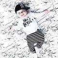 Newborn Baby Boy Clothes Set Cotton Long-sleeved Party Letter T-shirt+Stripe pants 2pcs