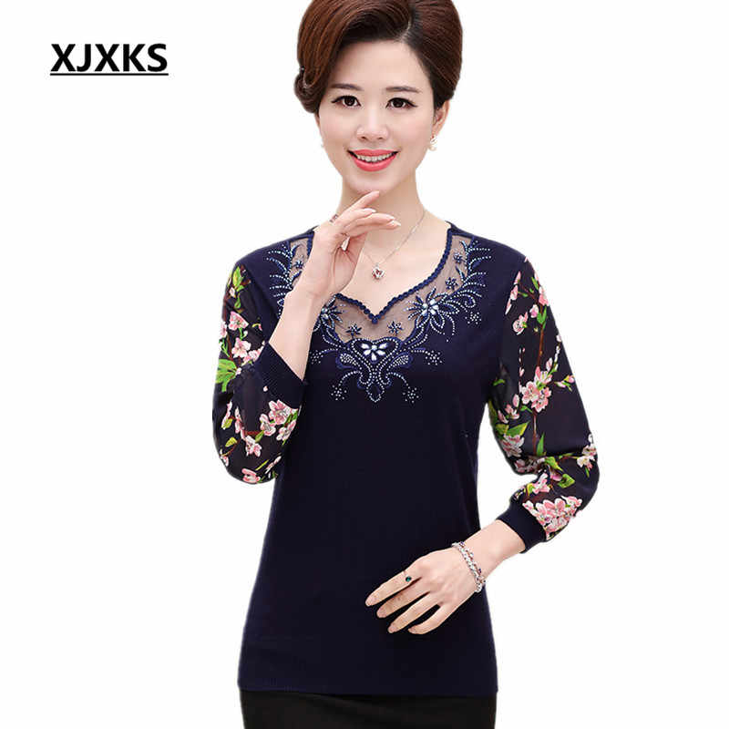 Chiffon sleeves Middle aged women sweater Good quality Spring and autumn  2017 women sweaters and pullovers 09c453cb4