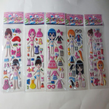 6 Sheets Princess Dress bubble stickers Cute DIY Stickers Lovely Girls Dress up Girl Changing Clothes
