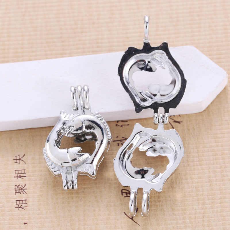 5 Pcs Bright Cinta Ikan Cage Liontin Perhiasan Aroma Diffuser Membuat Kalung untuk Merasa Bola Menyenangkan Hadiah