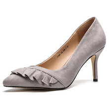 b5283cd9d7 Sapatos Mulheres Bombas Pontas Do Dedo Do Pé da folha de Lótus decoração  Wedding Party Flock