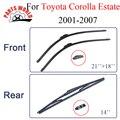 Lâminas de limpador para toyota corolla estate 2001-2007 acessórios do carro de borracha dianteira e traseira brisas óculos escova