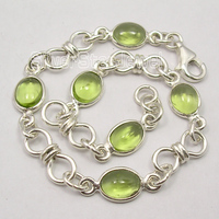 Pure Silver GREEN PERIDOT STONES MADE IN INDIA KNOT Bracelet 8 Inches BIJOUX