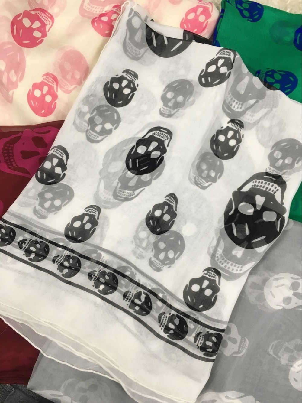 Skull Head Scarf Women 140*140 cm Silk Printing Large Women Shawls Wraps Handmade Hemming Head wear Bandanna Multi function