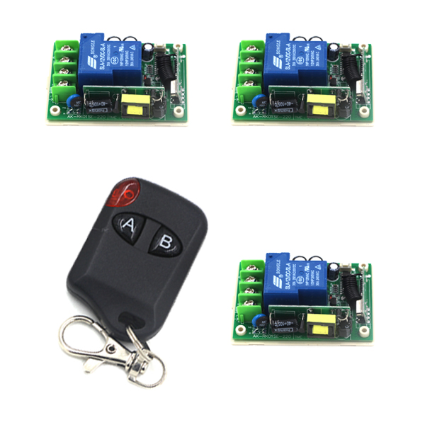AC 85V 110V 220V 250V 30A 2CH Radio Controller RF Wireless Remote Control Switch System, 1XTransmitter and 3XReceiver SKU: 5273AC 85V 110V 220V 250V 30A 2CH Radio Controller RF Wireless Remote Control Switch System, 1XTransmitter and 3XReceiver SKU: 5273