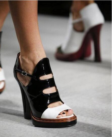 2017 Peep Toe Summer Fashion Women Shoes Cut-outs Strange Heels Women Pumps Buckle Strap Mixed Color Party Dress Sandals new design women ladies handcrafted strange heel shoes flower leather buckle strap peep toe fashion party prom pumps xd433