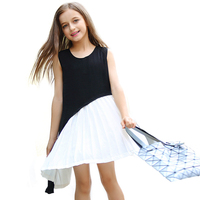 Summer Teenager Girls Bohemian Style Dresses Children Casual Vest Dress Big Girl Patchwork Costume Girls Holiday
