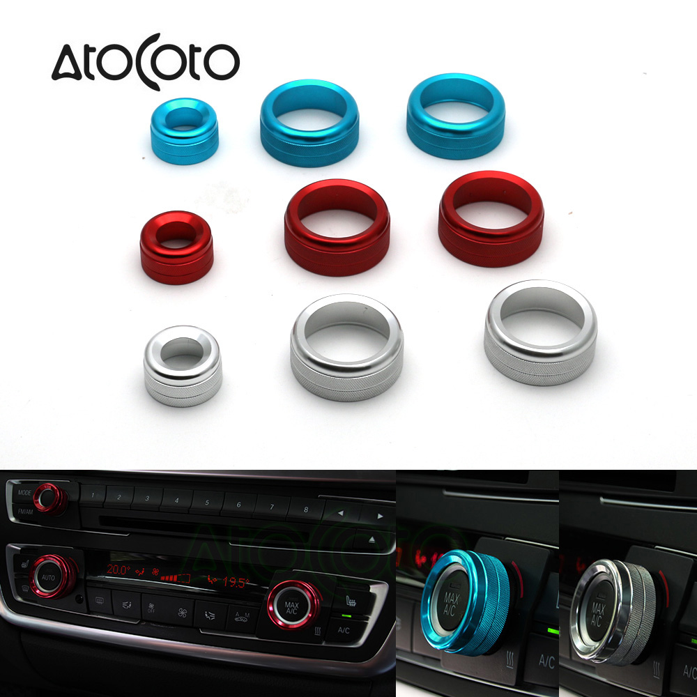 Red AC Climate Control Radio Volume Knob Ring Covers For BMW 1 2 3 3 4 Series GT
