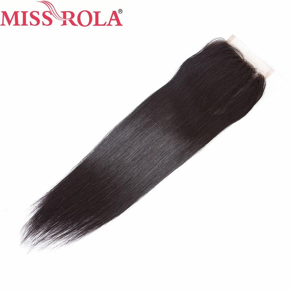 Hair Lace Closure Miss-Rola Straight 100%Human-Hair Brazilian Non-Remy-Hair 4--4 Natural-Black