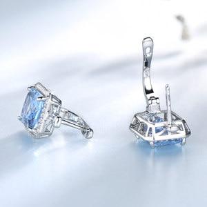 Image 3 - UMCHO Luxury Rectangle Created Sky Blue Topaz Clip Earrings Solid 925 Sterling Silver Gemstone Earrings For Women Fine Jewelry