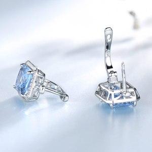 Image 3 - Umcho 高級長方形作成スカイブルートパーズクリップ 925 スターリングシルバー宝石用原石のイヤリング女性のためのファインジュエリー