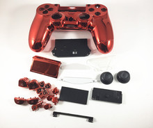 New For PS4 Playstation 4 Controller Gamepad Full Set Housing case Chrome Red Housing Shell Cover Protector Replacement Buttons