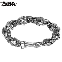 ZABRA Handmade 925 Silver Men Skulls Bracelet Thai Silver Mens Bracelets Domineering Personality Vintage Punk Rock Jewelry