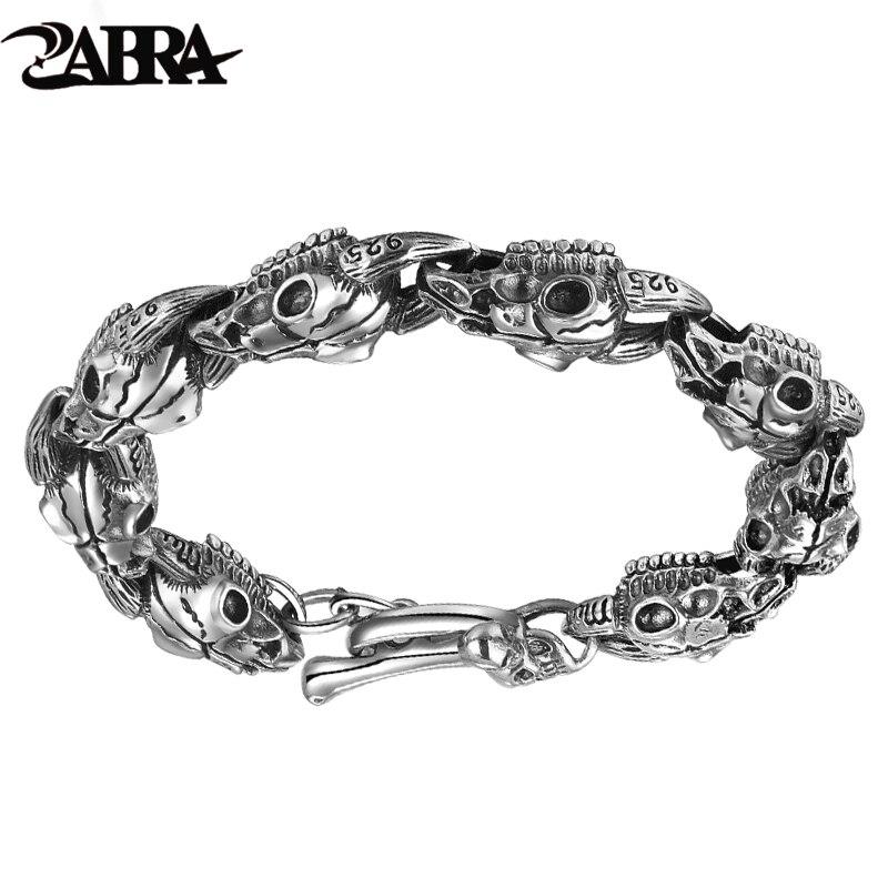 ZABRA Handmade 925 srebrny mężczyzna czaszki bransoletka Thai srebrne bransoletki męskie dominujące osobowości w stylu Vintage biżuteria punk rockowa w Bransoletki i obręcze od Biżuteria i akcesoria na  Grupa 1