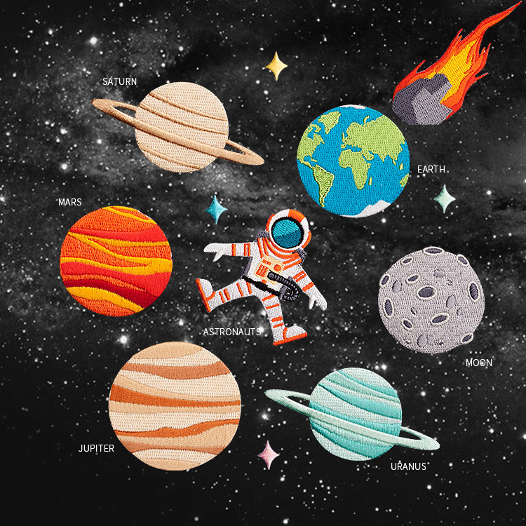 Universe Planet Series Astronaut Earth Meteor Moon Mars Jupiter Saturn Uranus Embroidery Cloth Brooch DIY Patch Sticker Adhesive