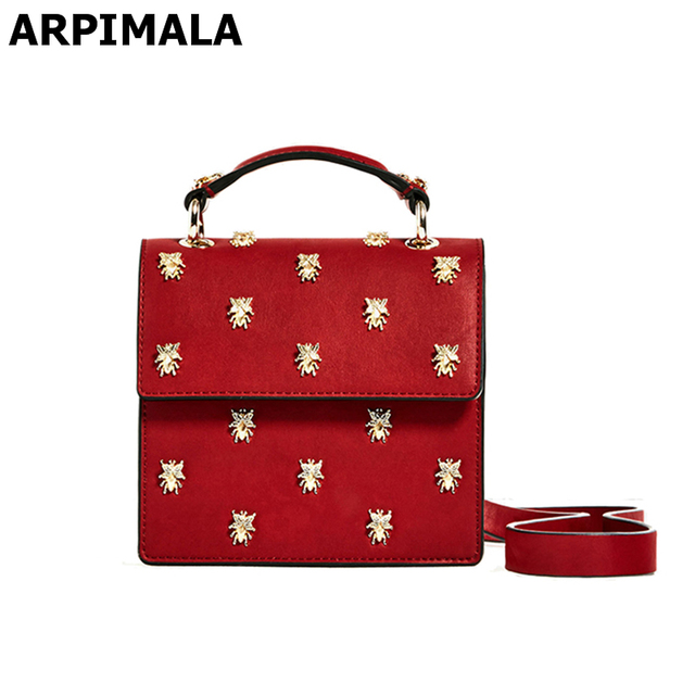 de8de6b04046 ARPIMALA 2017 Red Clutch Insect Stud Luxury Crossbody Bag Designer Women  Messenger Bags Small Ladies Hand Bag Purse and Handbags