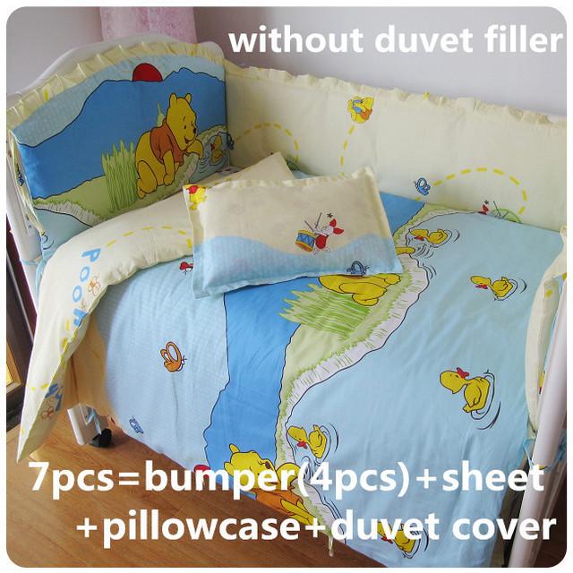 Promoção! 6 / 7 PCS berço conjuntos de cama de algodão Unisex bebê recém-nascido berço cama conjunto, 120 * 60 / 120 * 70 cm