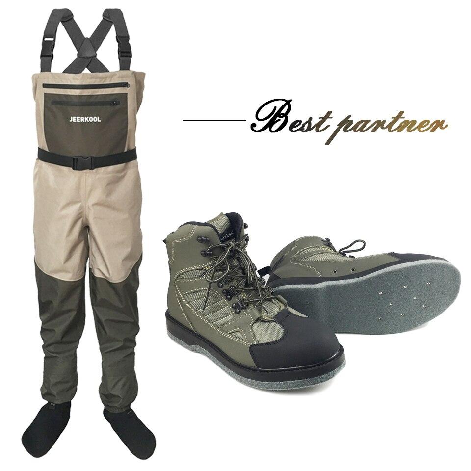 Armée vert cuissardes pantalon mouche pêche vêtements imperméable costume Wading chaussures Aqua chaussure feutre semelle bottes fuite eau chaussures DXMDU1