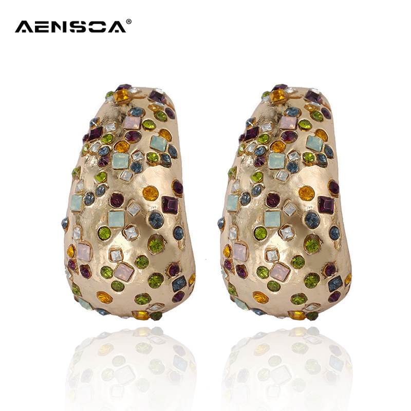 AENSOA Vintage Big Stud Earrings Statement Jewelry Colorful Crystal Gold Color Metal Earrings For Women Wedding Jewelry Gifts